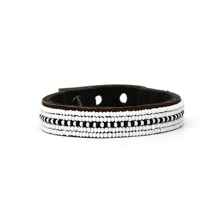 Skinny Black and White Stripe Beaded Cuff