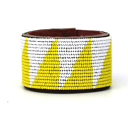 Yellow Tri Extra Wide Beaded Cuff