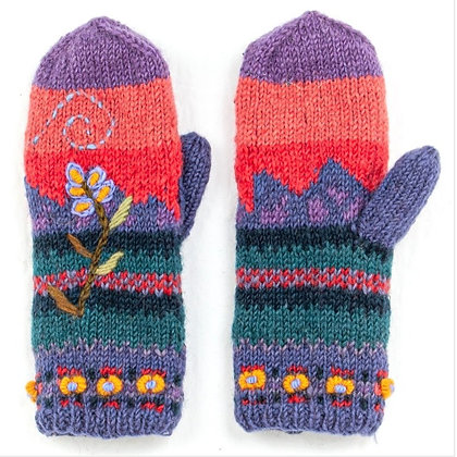 Hand Knit Mittens With Embroidery