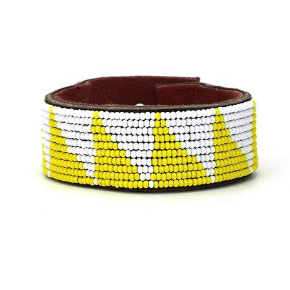 Yellow Tri Wide Beaded Cuff
