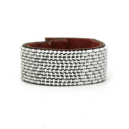 White Metallic Ombre Wide Beaded Cuff Collection