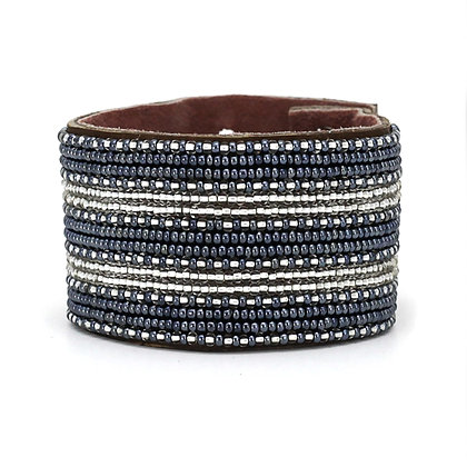 Twilight Stripe Extra-Wide Beaded Cuff