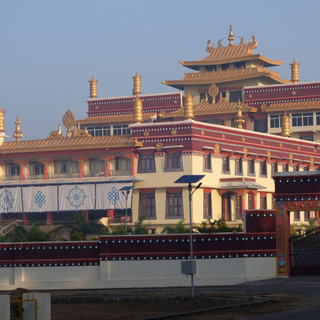 The recently built main temple hall at Tashi Lhunpo Monastery in Bylakuppe, India.