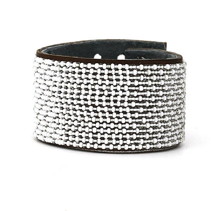 White Metallic Ombre Extra-Wide Beaded Cuff Collection