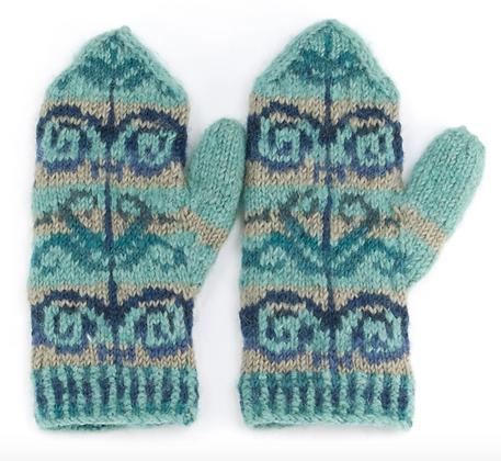 Hand Knit Intarsia Mittens