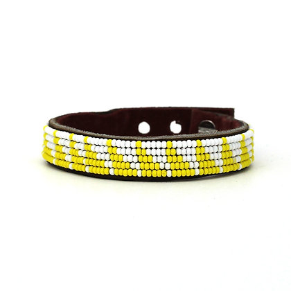 Yellow Tri Skinny Beaded Cuff