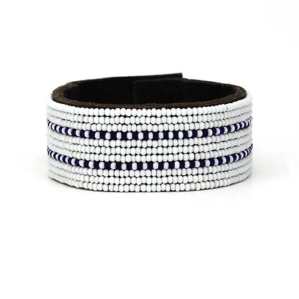 Wide Black and White Stripe Beaded Leather Cuff