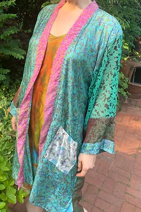 Turquoise Wave Silk Road Sari-Kimono