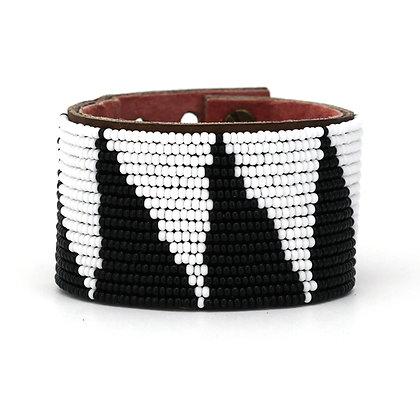 Black & White Tri Extra-Wide Beaded Cuff
