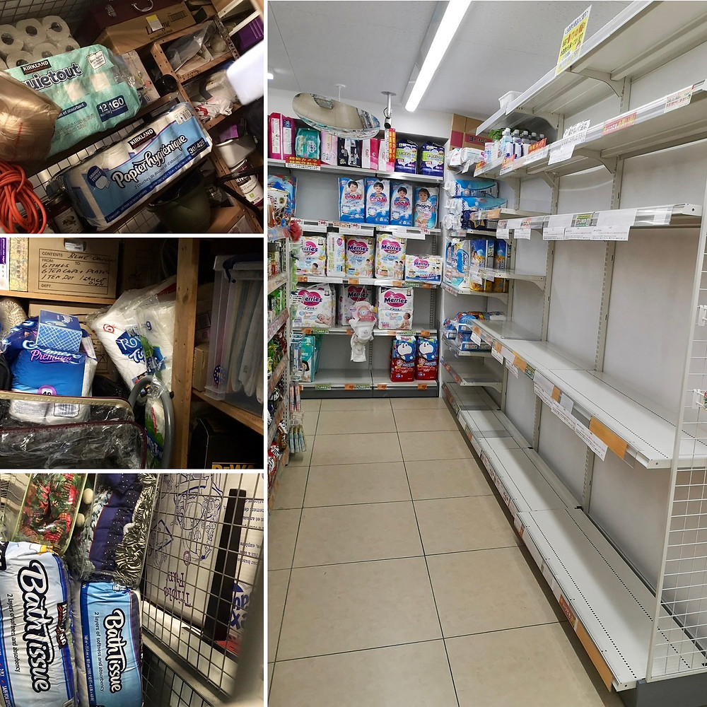 On the left, empty shelves where toilet paper used to be. On the right, storage lockers loaded with toilet paper and other scarce necessities.