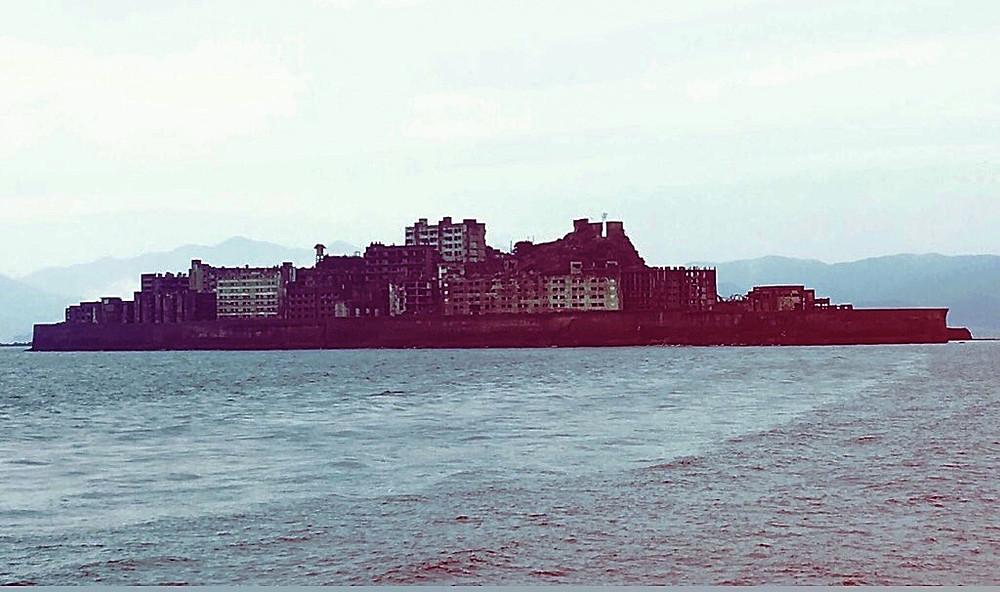 Gunkanjima silhouette