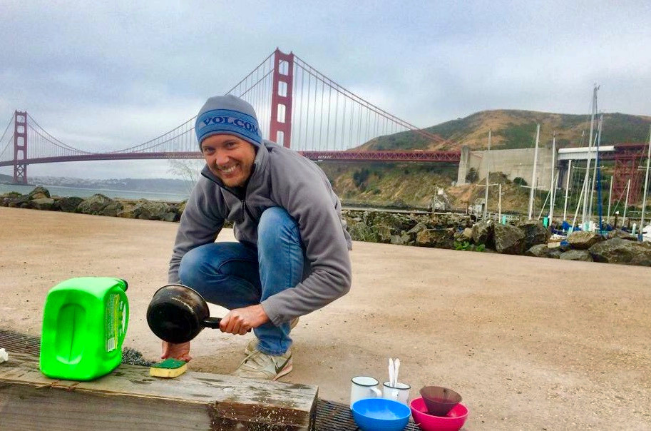Washing Up In Front of The Golden Gate Bridge
