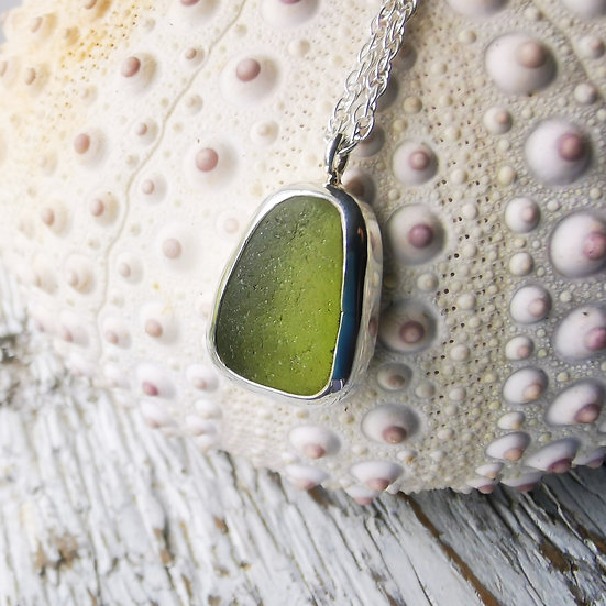 Sterling silver lime green sea glass pendant necklace