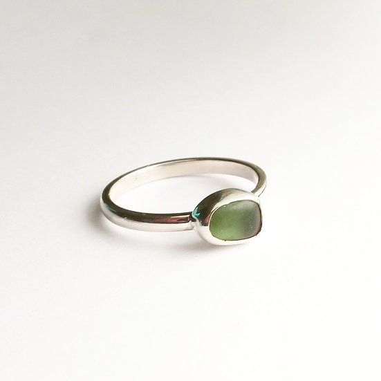 Simple Sterling Silver Green Sea Glass Ring
