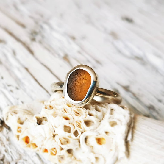 Sterling silver golden yellow orange sea glass ring. UK size O and a half.