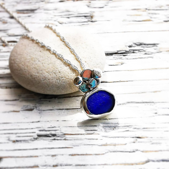 Sterling silver blue cluster pebble pendant necklace