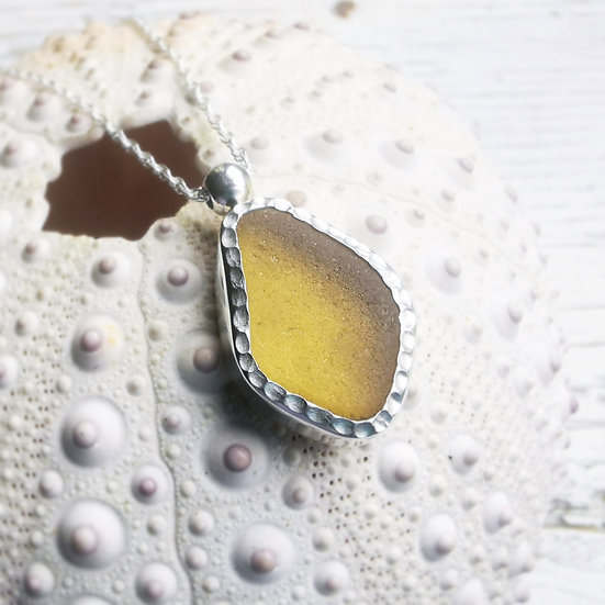Sterling silver yellow textured sea glass pendant necklace