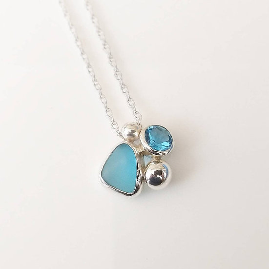 Sterling silver blue seaglass and topaz cluster pendant