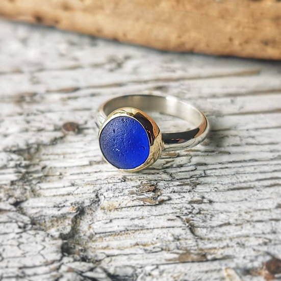 Sterling silver round blue sea glass and gold ring