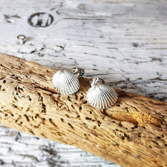 Sterling silver tiny shell stud earrings