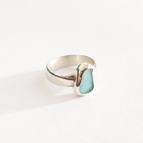 Sterling Silver Blue Sea Glass Ring