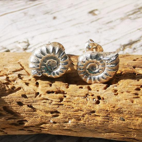 Sterling silver ammonite studs earrings 10mm