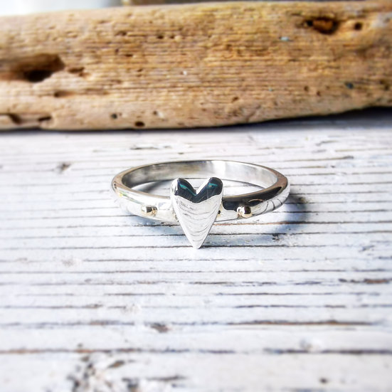 Sterling silver heart ring with 9ct gold detail