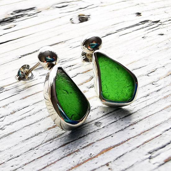 Sterling silver green pebble earring studs