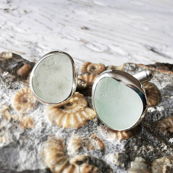 Sterling silver white sea glass gents cufflinks