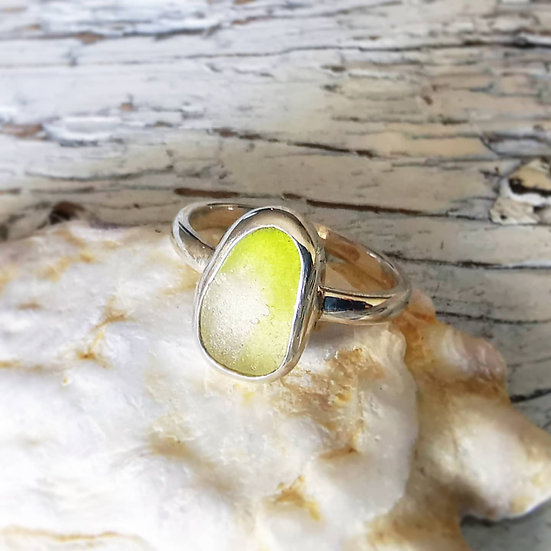 Sterling silver green and white rare sea glass ring UK size L and a half