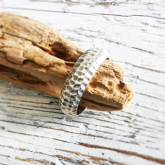 Sterling silver large textured ring band