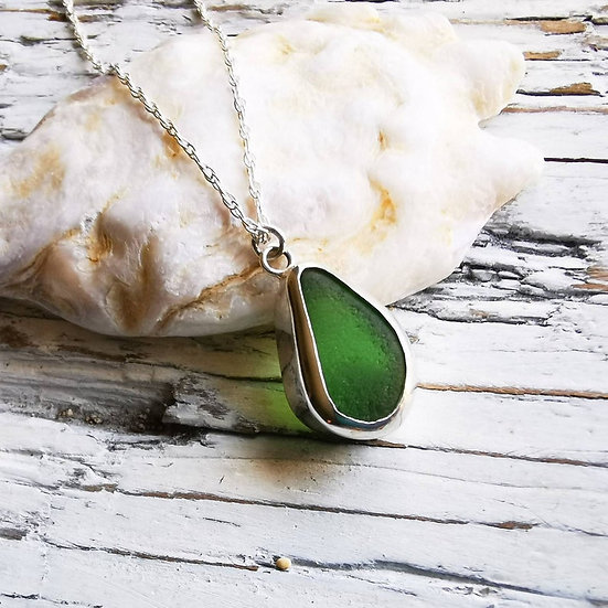 Sterling silver green sea glass pendant necklace