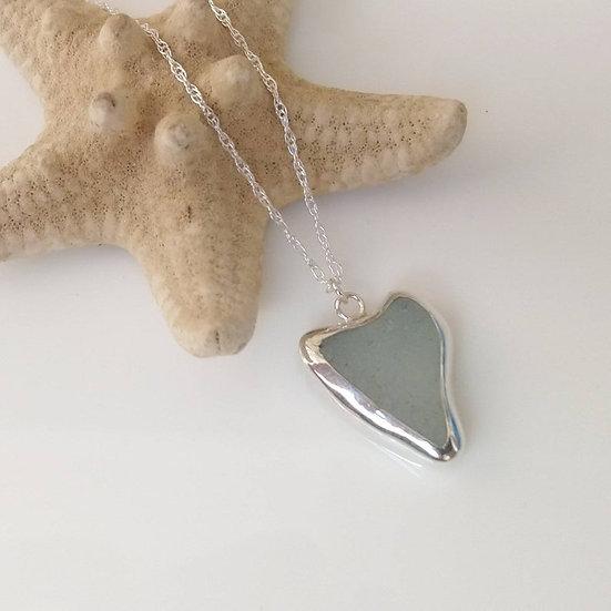 Sterling silver seaglass heart pendant