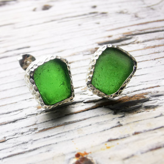 Sterling silver green sea glass studs with textured finish