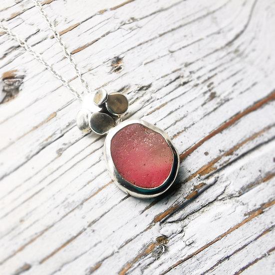 Rare pink sea glass pebble necklace