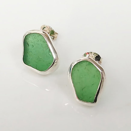 Sterling Silver Studs set with Green Sea Glass
