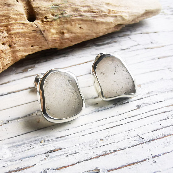 Sterling silver white frosted sea glass stud earrings
