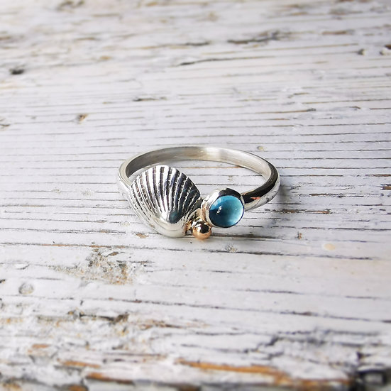 Sterling silver shell, blue topaz and shell ring