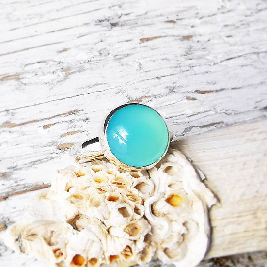 Stunning blue agate simple ring UK size m