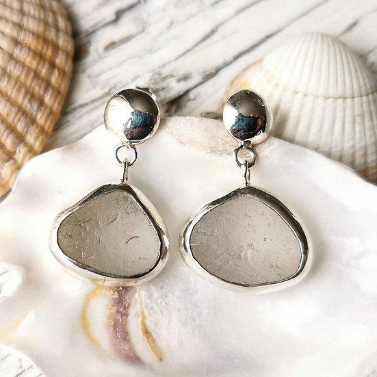 Sterling silver white sea glass dangle stud earrings image 0 Sterling silver wh
