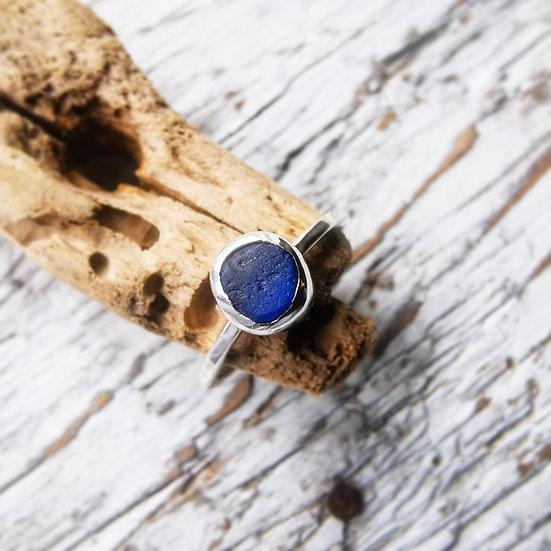 Sterling silver handmade blue sea glass ring, uk size k