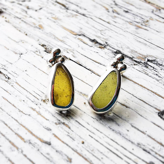 Sterling silver yellow sea glass stud earrings