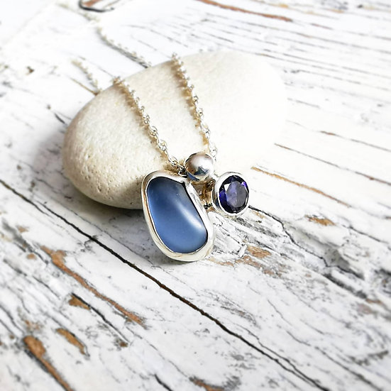 terling silver sea glass and iolite faced cluster pendant necklace