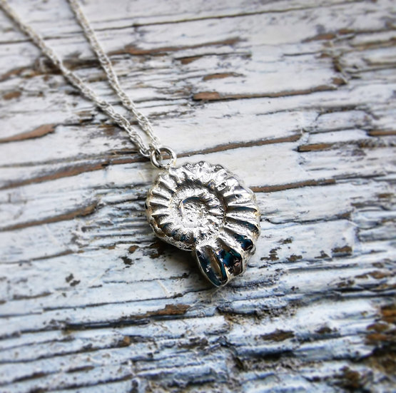 Sterling silver ammonite pendant necklace