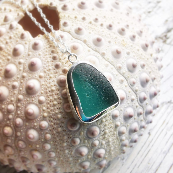 Sterling silver teal green sea glass pendant