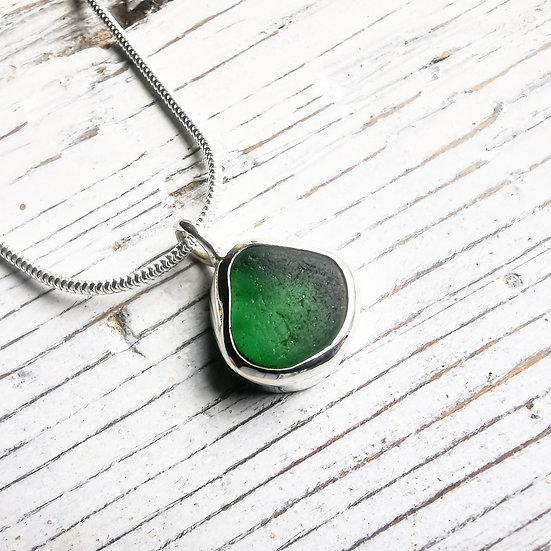 Gorgeous green sea glass pendant necklace