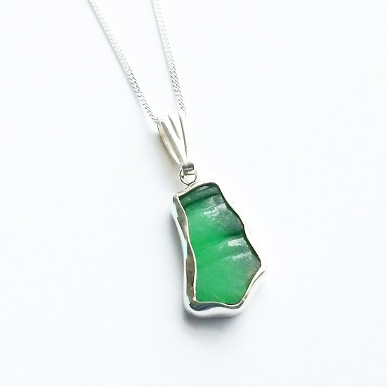 Sterling Silver Small Green Sea Glass Pendant