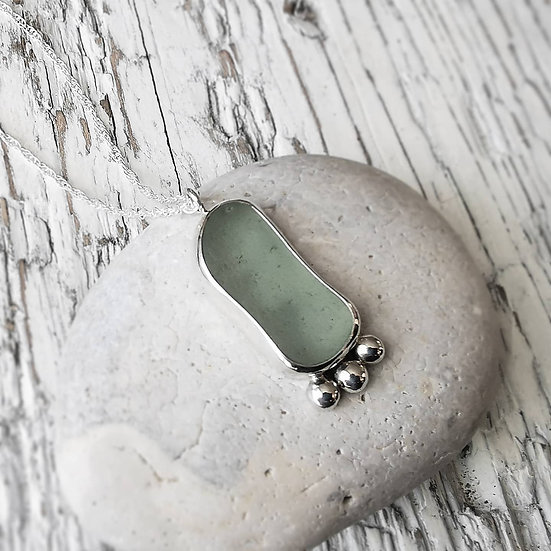Sterling silver pebble sea glass pendant necklace