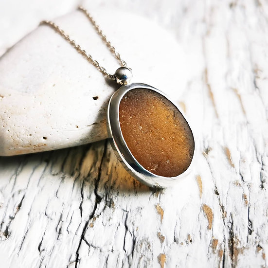Sterling silver golden amber brown sea glass pendant