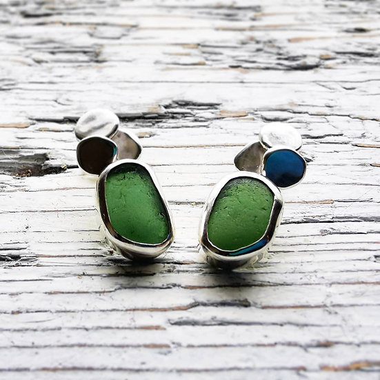 Large green sea glass stud earrings